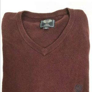 Chaps Cotton Cashmere V Neck Sweater Burgudy